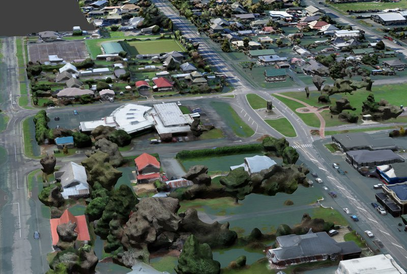 3D reconstruction of flooding in Leeston, Canterbury. Image: Mappazzo